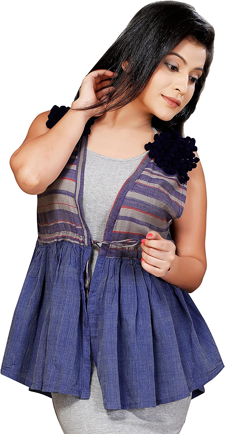 Vilayaa Women's Strike Out Fit and Flare Cotton Stripe Shrug