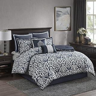 Madison Park Odette Comforter Set Jacquard Damask Medallion Design All Season Down Alternative Bedding, Matching Shams, Be...