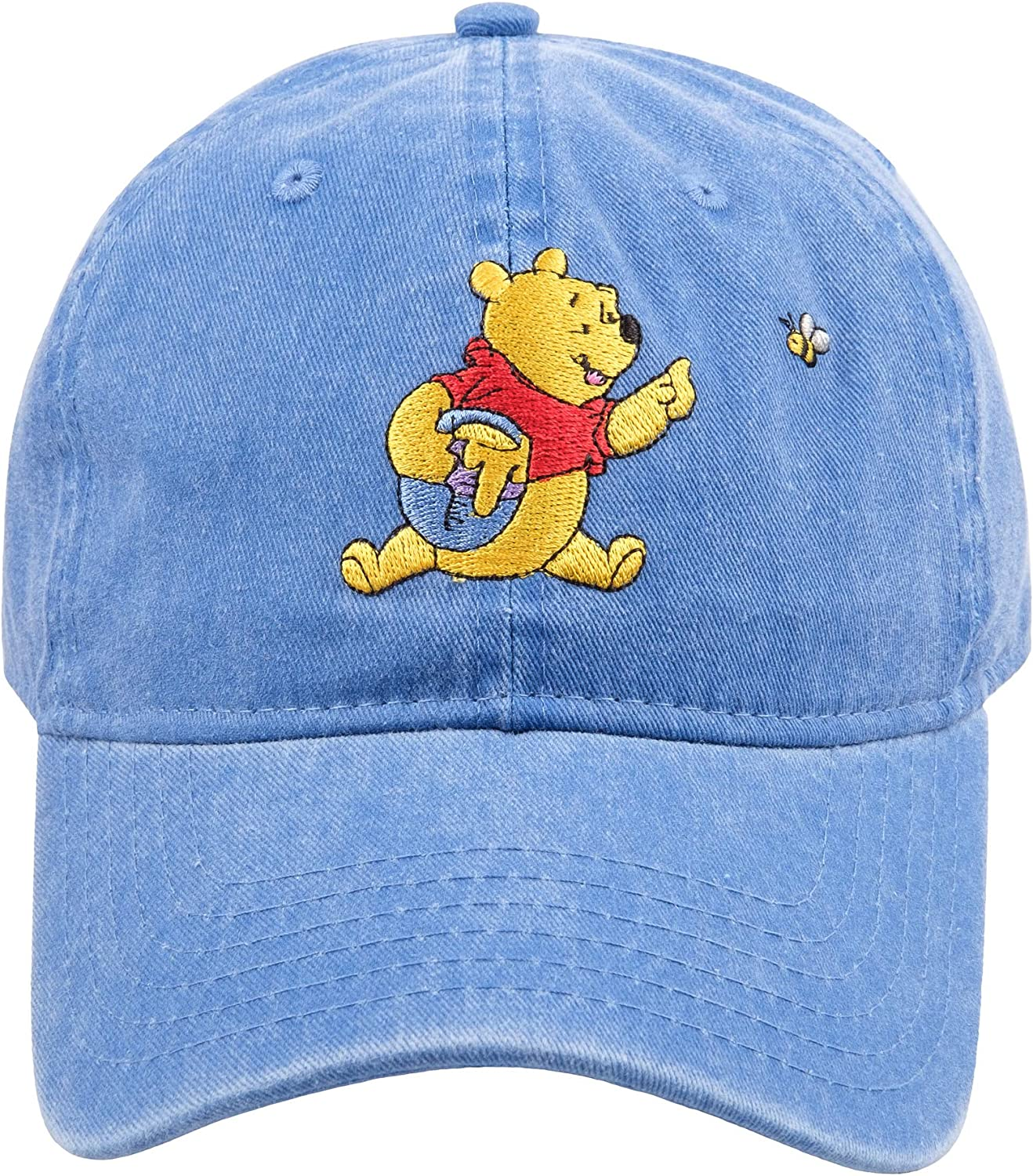 Concept One Disney's Winnie The Pooh with Honey Pot Embroidered Cotton Adjustable Dad Hat with Curved Brim