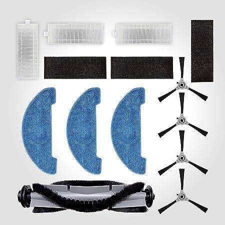Venga! ST Piezas de Repuesto para el Aspirador Robótico VG RVC 3000, Kit Incluye 4 Laterales, 1 Cepillo Central, 3 Mopas, 3 Kits de Filtro, Gris