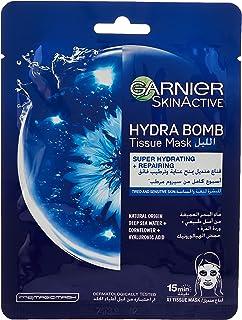 Garnier SkinActive Night Tissue Mask With Deep Sea Water, Cornflower & Hyaluronic Acid for Tired & Sensitive Skin, 32 gm