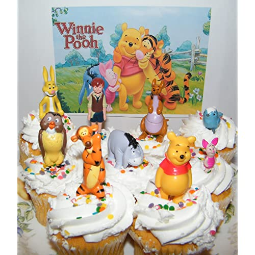 Disney Winnie The Pooh Deluxe Mini Cake Toppers Cupcake Decorations Set Of 9 Figures With