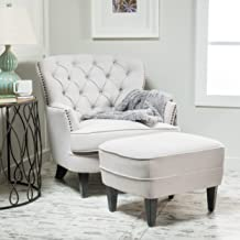 Alfred Tufted Fabric Club Chair with Ottoman, Contemporary Lounge Accent Chair and Footstool Set, Natural