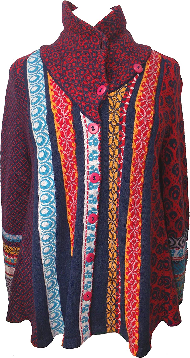 IVKO Short Lambswool Jacket wth Geometric Pattern, Front Button Closure, bluee Red