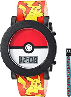 Pokemon Boys' Quartz Watch with Plastic Strap, red, 18 (Model: POK4049
