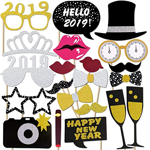 Konsait Año 2019 Photo Booth Props Cabina de Fotos Accesorios Photocall  Divertido DIY Kit para Adultos f601490ffca