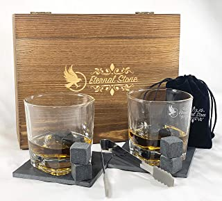 Whiskey Stones Gift Set- 8 Granite Chilling Rocks, 2 Crystal Scotch Whiskey Glasses, Slate Table Coasters, Tongs, Velvet Bag in Handcrafted Wooden Box | Gift for Husband, Dad, Birthday or Anniversary