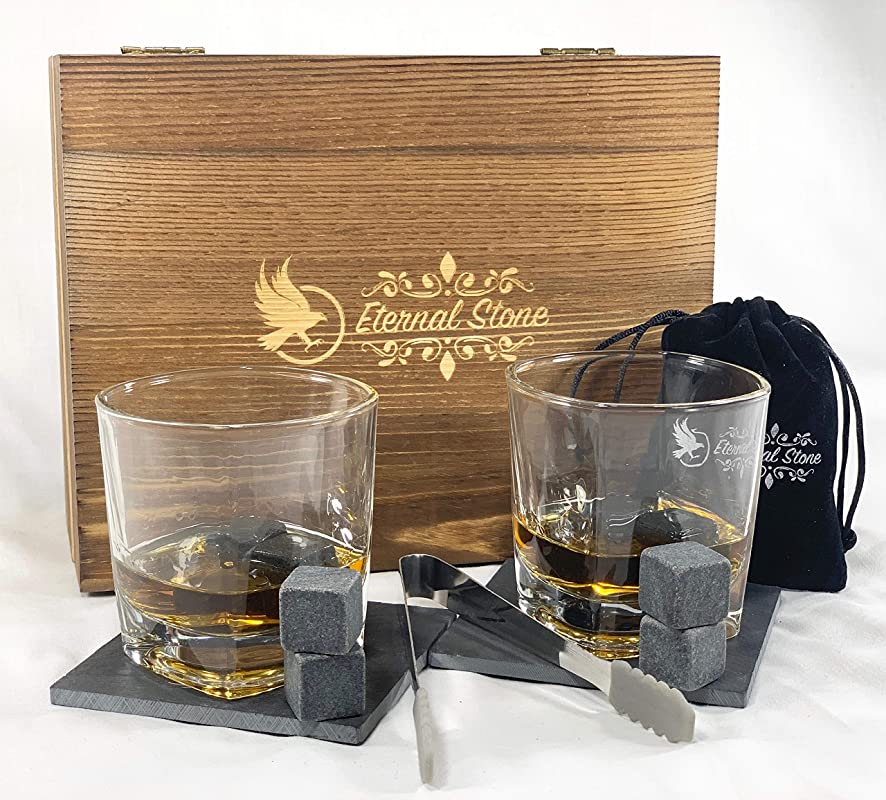 Whiskey Stones Gift Set 8 Granite Chilling Rocks 2 Crystal Scotch Whiskey Glasses Slate Table Coasters Tongs Velvet Bag In Handcrafted Wooden Box Gift For Husband Dad Birthday Or Anniversary