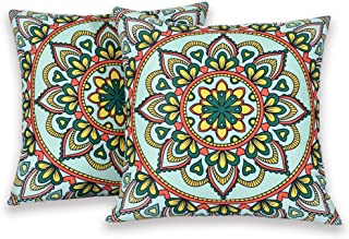 KEQIAOSUOCAI Boho Flower Throw Pillow Cover for Sofa Green Outdoor Waterproof Throw Pillow Case 18x18 Pack of 2