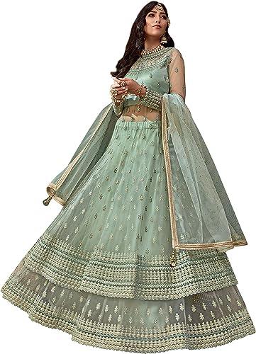 Yami fashion Women's Net Semi-Stitched Lehenga Choli (7800010_Mint Green_Free Size)
