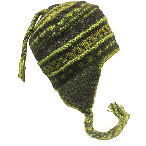ace94451b3c927 Nepal Hand Knit Sherpa Hat with Ear Flaps, Trapper Ski Heavy Wool Fleeced  Lined Cap