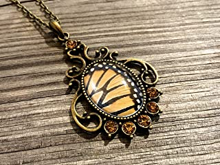 Real Monarch Butterfly necklaces for women Insect taxidermy jewelry Butterfly wing costume adult Danaus Plexippus with crystals