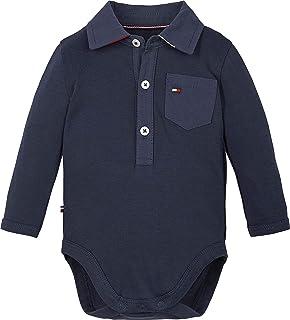 Tommy Hilfiger Baby Poplin Collar Body L/S Camiseta sin Mangas para bebés y niños pequeños