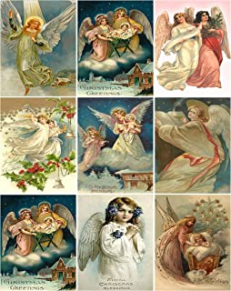 Victorian Vintage Angels Christmas Card Collage Sheet 8.5 x 11
