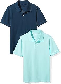Amazon Essentials Boys' Short-Sleeve Uniform Pique Polo