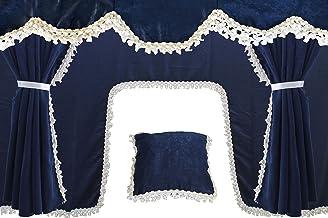 AutoCommerse - Juego de 5 cortinas de satén con borlas blancas, visera frontal + 2 ventanas laterales + cojín + cortina de túnel universal para camiones, color azul