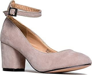 J. Adams Ankle Strap Pump Heel -Comfortable Round Toe Dress Block Shoe - Darling