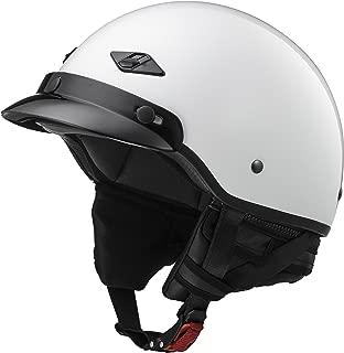 LS2 Helmets Unisex-Adult Half-Size-Helmet-Style Bagger Helmet (Pearl White, Medium)