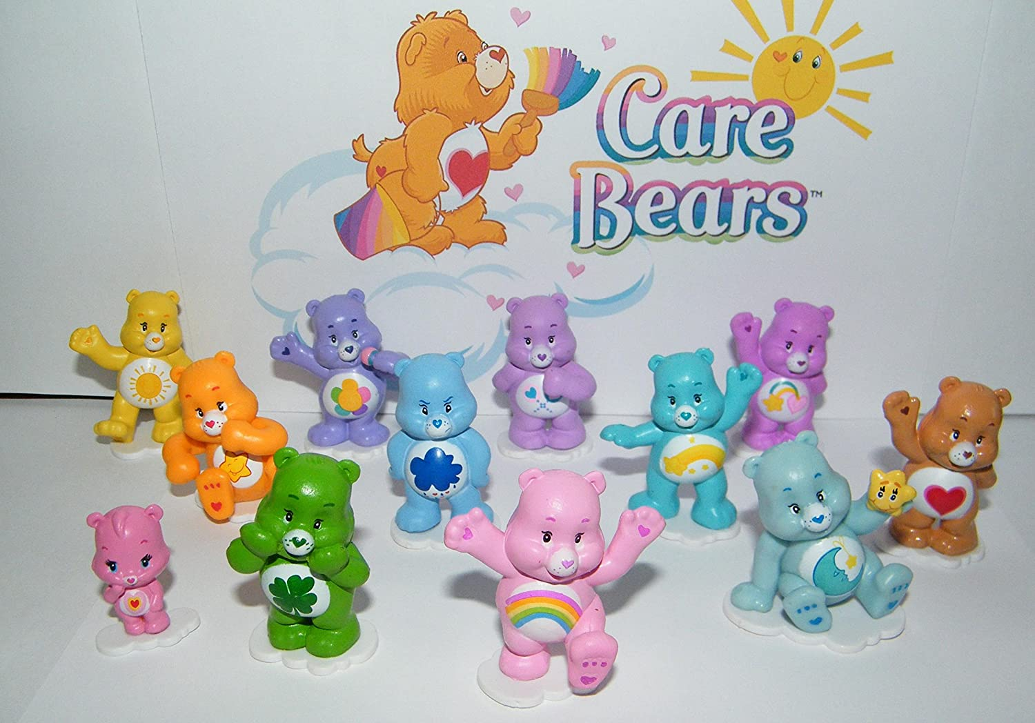 Care Bears Deluxe Party Favors Goody Bag Fillers Set of 12 Figures with Baby Wonderheart Bear Bed Time Bear Share Bear Wish Bear and Many More