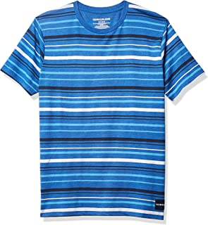 Calvin Klein Boys' Short Sleeve Stripe Crew Neck
