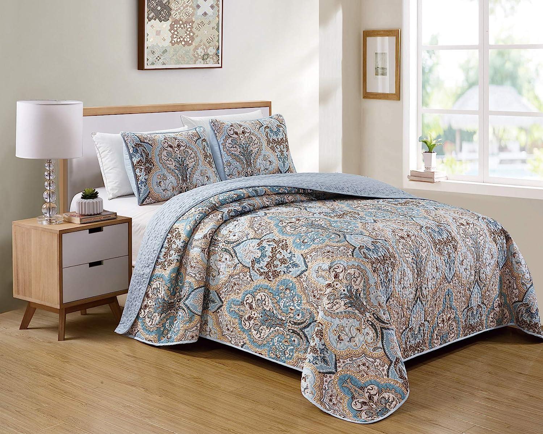 Choice Kids Zone Home Linen Bedspread Ranking TOP8 Set Pattern Blue Whi Light Damask