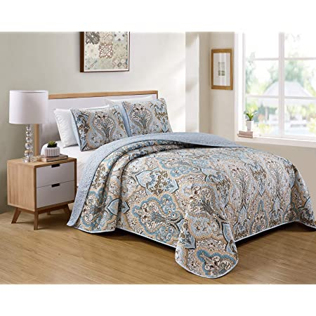 Better Home Style 3 Piece Luxury Lush Soft Blue Taupe Motif Ornamental Floral Printed Design Quilt Coverlet Bedspread Oversized Bed Cover Set # Amanda (Blue, Full/Queen)