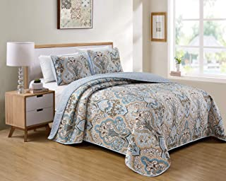 Better Home Style 3 Piece Luxury Lush Soft Blue Taupe Motif Ornamental Floral Printed Design Quilt Coverlet Bedspread Oversized Bed Cover Set # 3562 (Blue, Full/Queen)