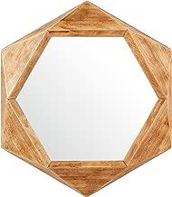 "Rivet - Espejo con Marco de Madera Hexagonal Moderno, Moderno, Glass, 30"" x 26"", 1"