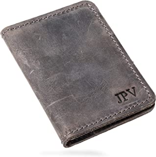 Pegai Personalized Minimalist Bifold Wallet, Distressed Leather Wallet - Knox | Rock Gray