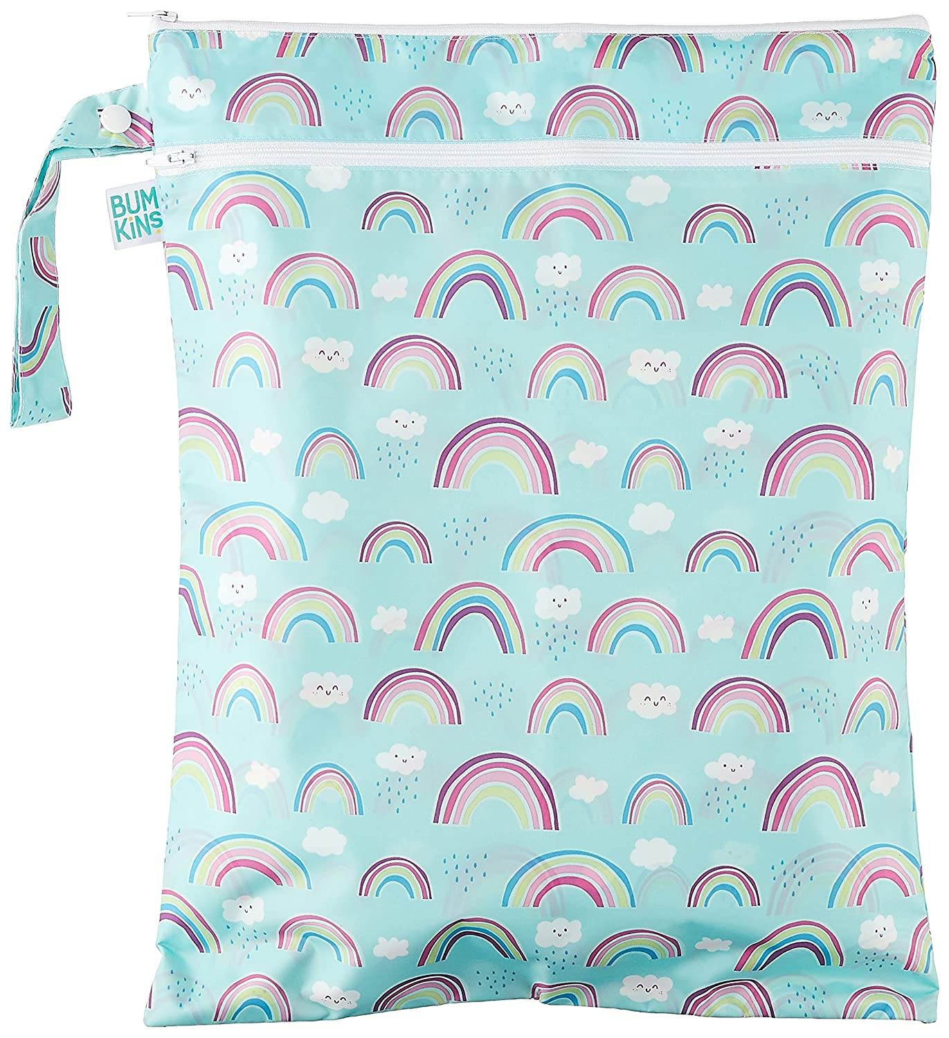 Bumkins Waterproof Wet Bag/Dry Bag, Washable, Reusable for Travel, Beach, Pool, Stroller, Diapers, Dirty Gym Clothes, Wet Swimsuits, Toiletries, 12 x 16 – Rainbows