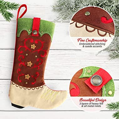 Country Christmas Stockings - 18-inch Cowboy Boot Christmas Stocking, Farmhouse Christmas Stockings Christmas Decoration Rust