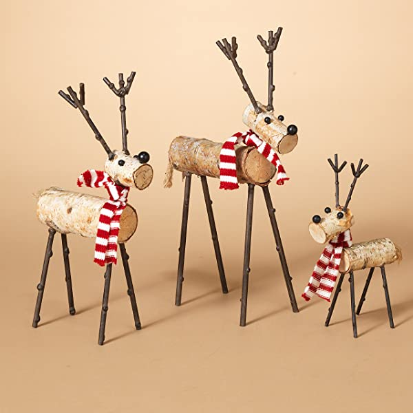 Gerson International 2272270ec 3 Assorted Metal Wood Quirky Deer Figures