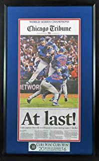 "Chicago Cubs 2016 World Series Champions Newspaper Display (w/ ""Cubs Win! Cubs Win! Plate) Framed"