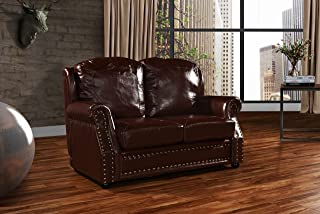 DIVANO ROMA FURNITURE Leather Match Sofa 2 Seater, Living Room Couch Loveseat with Nailhead Trim (Dark Brown)