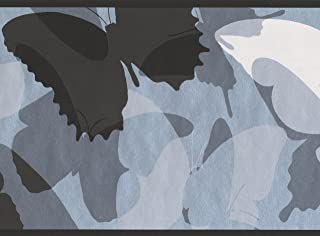 York Wallcoverings Black Grey White Abstract Butterflies Wallpaper Border for Kids, Roll 15' x 6''