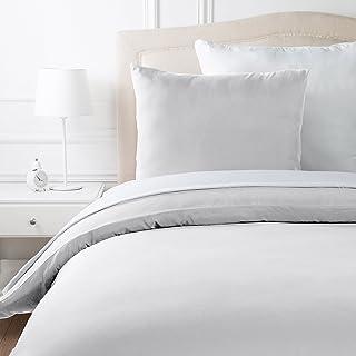 AmazonBasics Parure de lit en microfibre, gris clair, 140 cm x 200 cm/65 cm x 65 cm x 1