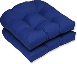 Pillow Perfect Outdoor/Indoor Wicker Seat Cushion, 19 in. x 19 in, Fresco Blue, Set of 2