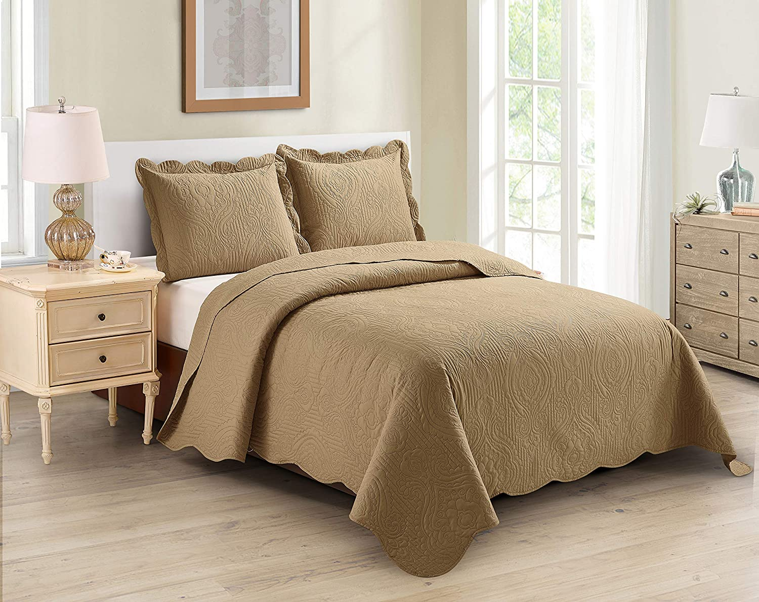 Home Collection Ranking TOP4 3pc King Cal Size Beds Cheap bargain Luxury Embossed Over