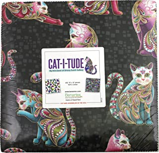 Ann Lauer Cat-i-tude 10X10 Pack 42 10-inch Squares Layer Cake Benartex, Assorted
