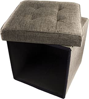 Red Co. Folding Cube Storage Ottoman with Padded Seat, 15
