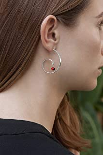 Stud Post Curved Hoop Sterling Silver 925 with Red and Black Huayruro Seed Earrings, Peruvian 'Good Fortune' G shape Hoops, Polished finish, Handmade in Peru