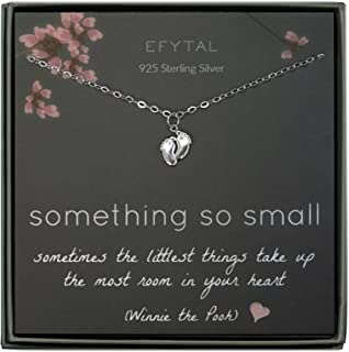 EFYTAL New Mom Gifts, 925 Sterling Silver Tiny Baby Feet Necklace for Mother and Baby Girl/Boy, Mother's Day Jewelry Gift ...
