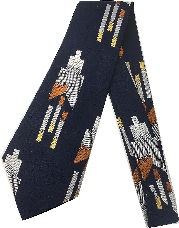 Shooting Fractal Vintage Tie - Jacquard Weave Wide Kipper Necktie Blue Up