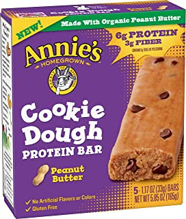 Annie's Homegrown Cookie Dough Protein Bar, Peanut Butter, 5 Count (Pack of 8)