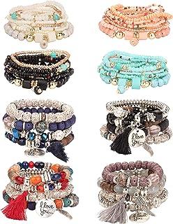 LOLIAS 8 Pack Bohemian Stackable Beaded Bracelets for Women Stretch Bangles Multilayer Stacking Bracelet Set