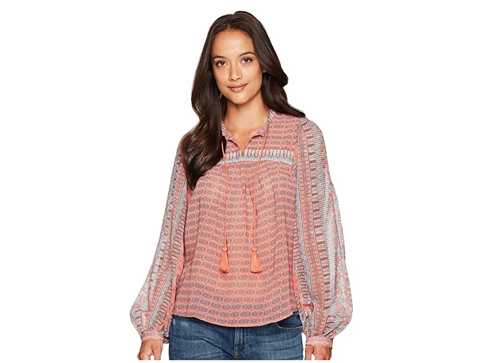 Lucky Brand Border Print Peasant Top (Pink Multi) Women's Long Sleeve Pullover
