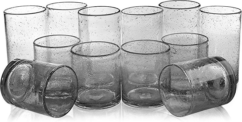 Artland Iris Clear Seeded 12 Piece Double Old Fashioned Glass And Highball Tumbler Set