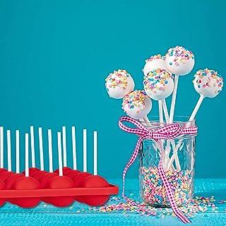 Relaxdays 10024327 Pop Moules en Silicone pour 20 Pièces Set d'accessoires 120 Cake Pops Manche Coeur et Boule Rouge