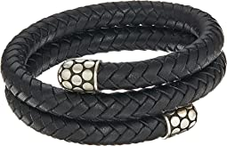 Dot Double Coil Bracelet in Black Leather