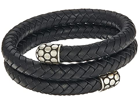 John Hardy Dot Double Coil Bracelet in Black Leather